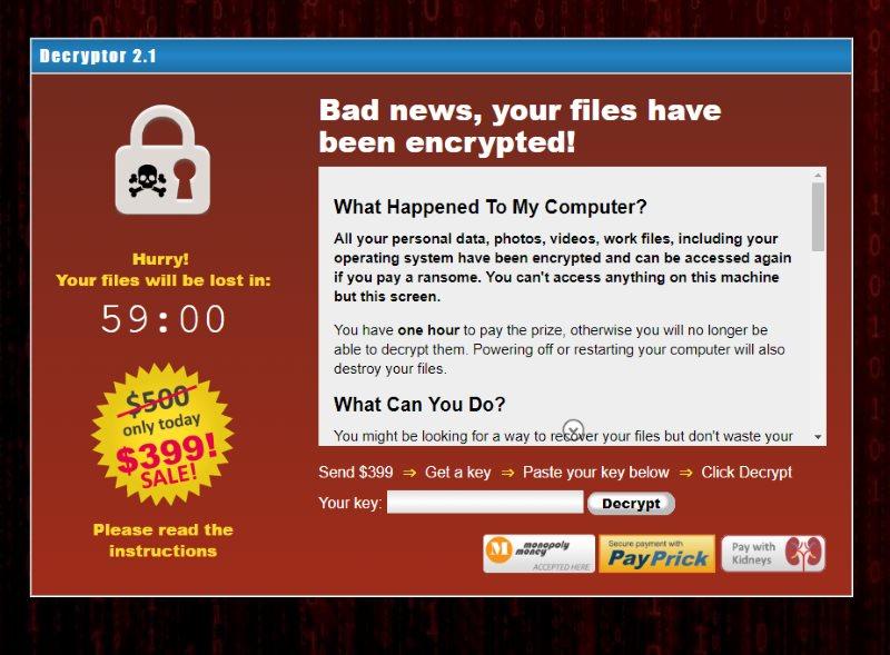Fake Virus Screen - Files encrypted