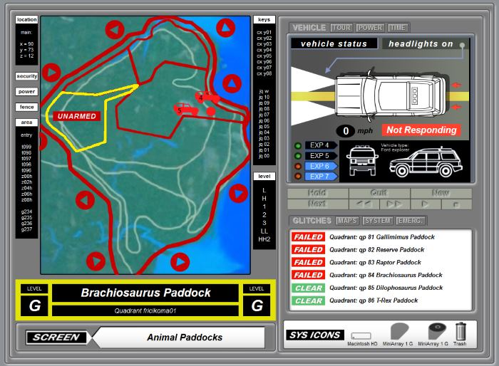 Jurassic Park Computer Hack Screen